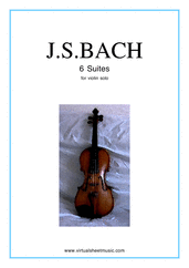 Cover icon of Suites sheet music for violin solo by Johann Sebastian Bach, classical score, intermediate skill level