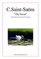 Cover icon of The Swan sheet music for bass clarinet and piano by Camille Saint-Saens, classical score, easy/intermediate skill level