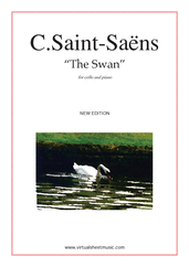 Cover icon of The Swan (New Edition) sheet music for cello and piano by Camille Saint-Saens, classical score, intermediate skill level