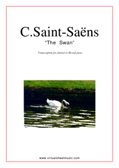 Cover icon of The Swan sheet music for clarinet and piano by Camille Saint-Saens, classical score, easy skill level