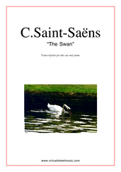 Cover icon of The Swan sheet music for alto saxophone and piano by Camille Saint-Saens, classical score, easy skill level