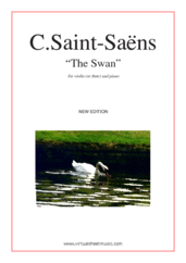 Cover icon of The Swan (NEW EDITION) sheet music for violin (or flute) and piano by Camille Saint-Saens, classical score, easy skill level