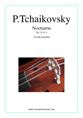 Cover icon of Nocturne, Op.19 No.4 sheet music for cello and piano by Pyotr Ilyich Tchaikovsky, classical score, intermediate/advanced skill level