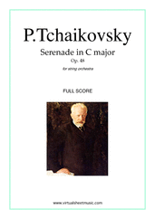 Cover icon of Serenade in C major Op.48 (COMPLETE) sheet music for string orchestra by Pyotr Ilyich Tchaikovsky, classical score, advanced skill level