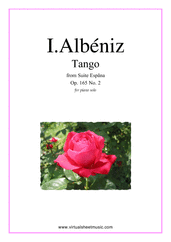 Cover icon of Tango Op.165 No.2 sheet music for piano solo by Isaac Albeniz, classical score, intermediate skill level