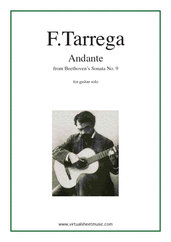 Cover icon of Andante from Sonata No. 9 sheet music for guitar solo by Francisco Tarrega, classical score, intermediate/advanced skill level