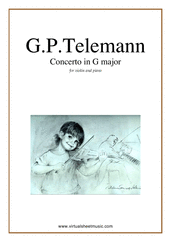 Cover icon of Concerto in G major sheet music for violin and piano by Georg Philipp Telemann, classical score, easy skill level