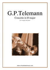 Concerto in D major for trumpet and piano - easy georg philipp telemann sheet music