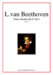 "Cover icon of Sonata Op.31 No.2 ""Tempest"" sheet music for piano solo by Ludwig van Beethoven, classical score, advanced skill level"