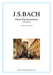 Cover icon of Three Part Inventions (Sinfonias) sheet music for piano solo (or harpsichord) by Johann Sebastian Bach, classical score, intermediate piano (or harpsichord)