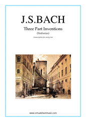 Cover icon of Three Part Inventions (Sinfonias) sheet music for string trio by Johann Sebastian Bach, classical score, intermediate/advanced skill level
