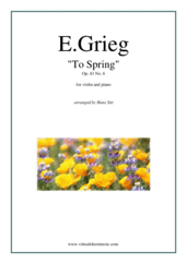 Cover icon of To Spring Op. 43 No. 6 sheet music for violin and piano by Edvard Grieg, classical score, intermediate skill level