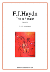 Cover icon of Trio in F major Hob XV:6 sheet music for violin, cello and piano by Franz Joseph Haydn, classical score, intermediate/advanced skill level