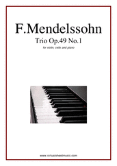 Cover icon of Trio Op.49 No.1 sheet music for violin, cello and piano by Felix Mendelssohn-Bartholdy, classical score, advanced skill level