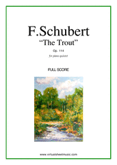Cover icon of The Trout, Piano Quintet Op.114 (f.score) sheet music for piano quintet by Franz Schubert, classical score, advanced skill level