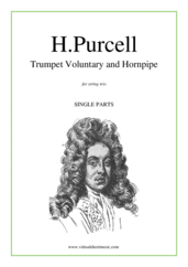 Cover icon of Trumpet Voluntary and Hornpipe (parts) sheet music for string trio by Henry Purcell, classical wedding score, intermediate skill level