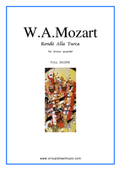 "Cover icon of Rondo ""Alla Turca"" (f.score) sheet music for brass quartet by Wolfgang Amadeus Mozart, classical score, intermediate/advanced skill level"