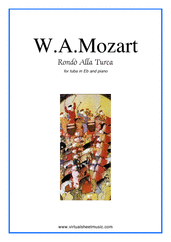 "Cover icon of Rondo ""Alla Turca"" sheet music for tuba in Eb and piano by Wolfgang Amadeus Mozart, classical score, intermediate skill level"