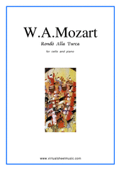 "Cover icon of Rondo ""Alla Turca"" sheet music for cello and piano by Wolfgang Amadeus Mozart, classical score, intermediate skill level"