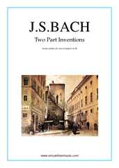 Cover icon of Two Part Inventions sheet music for two trumpets by Johann Sebastian Bach, classical score, intermediate duet