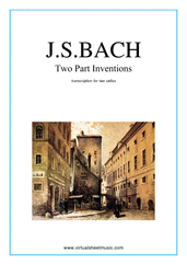 Cover icon of Two Part Inventions sheet music for two cellos by Johann Sebastian Bach, classical score, intermediate duet