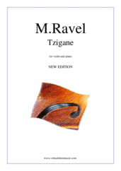 Cover icon of Tzigane, Rapsodie de Concert (NEW EDITION) sheet music for violin and piano by Maurice Ravel, classical score, advanced skill level