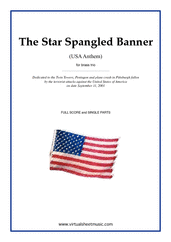 Cover icon of The Star Spangled Banner - USA Anthem sheet music for brass trio by John Stafford Smith, intermediate skill level