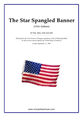 Cover icon of The Star Spangled Banner - USA Anthem sheet music for flute, oboe, violin and cello by John Stafford Smith, intermediate skill level