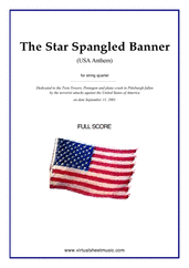 Cover icon of The Star Spangled Banner (in G, f.score) - USA Anthem sheet music for string quartet or string orchestra by John Stafford Smith, intermediate skill level