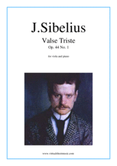 Valse Triste Op.44 No.1 for viola and piano - intermediate jean sibelius sheet music