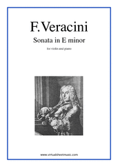 Cover icon of Sonata in E minor sheet music for violin and piano by Fancesco Veracini, classical score, intermediate skill level