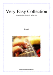 Very Easy Collection for Beginners, part I for guitar solo - guitar sonata sheet music