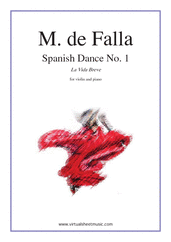 Cover icon of Spanish Dance No. 1 (La Vida Breve) sheet music for violin and piano by Manuel de Falla, classical score, advanced skill level