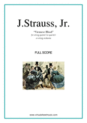 Cover icon of Viennese Blood (COMPLETE) sheet music for string quintet (quartet) or string orchestra by Johann Strauss, Jr., classical score, intermediate skill level
