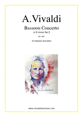 Concerto in D minor RV 481 for bassoon and piano - classical bassoon sheet music