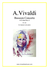 Cover icon of Concerto in E minor RV 484 sheet music for bassoon and piano by Antonio Vivaldi, classical score, intermediate skill level