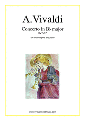Cover icon of Concerto in Bb major RV 537 sheet music for two trumpets and piano by Antonio Vivaldi, classical score, intermediate/advanced skill level