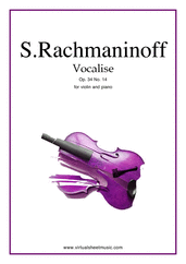 Cover icon of Vocalise Op.34 No.14 sheet music for violin and piano by Serjeij Rachmaninoff, classical score, intermediate/advanced skill level