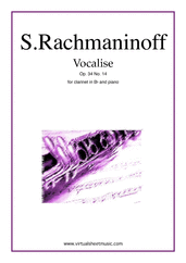 Cover icon of Vocalise Op.34 No.14 sheet music for clarinet and piano by Serjeij Rachmaninoff, classical score, intermediate skill level