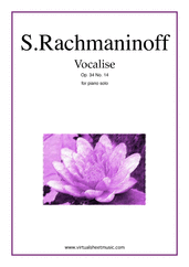 Cover icon of Vocalise Op.34 No.14 sheet music for piano solo by Serjeij Rachmaninoff, classical score, intermediate/advanced skill level