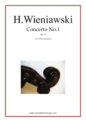 Cover icon of Concerto No.1 Op.14 sheet music for violin and piano by Henry Wieniawski, classical score, advanced skill level