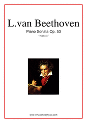 "Cover icon of Sonata Op.53 ""Waldstein"" sheet music for piano solo by Ludwig van Beethoven, classical score, advanced skill level"