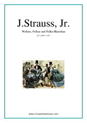 Cover icon of Waltzes, Polkas and Mazurkas sheet music for piano solo by Johann Strauss, Jr., classical score, intermediate skill level