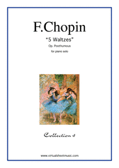 Cover icon of Waltzes (collection 4) sheet music for piano solo by Frederic Chopin, classical score, intermediate skill level