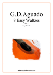 Cover icon of Easy Waltzes, 8 - Op.7 sheet music for guitar solo by Garcia Dionisio Aguado, classical score, easy/intermediate skill level