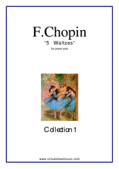 Cover icon of Waltzes (COMPLETE) sheet music for piano solo by Frederic Chopin, classical score, intermediate skill level