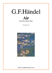 Cover icon of Air from Water Music sheet music for piano solo by George Frideric Handel, classical wedding score, intermediate skill level