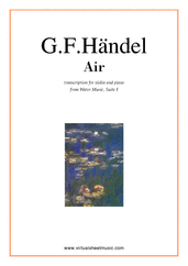 Cover icon of Air from Water Music sheet music for violin and piano by George Frideric Handel, classical wedding score, easy skill level
