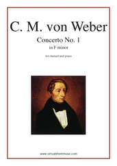 Cover icon of Concerto in F minor Op.73 No.1 sheet music for clarinet and piano by Carl Maria Von Weber, classical score, intermediate skill level