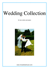 Cover icon of Wedding Sheet Music for two violins and piano, classical wedding score, intermediate skill level